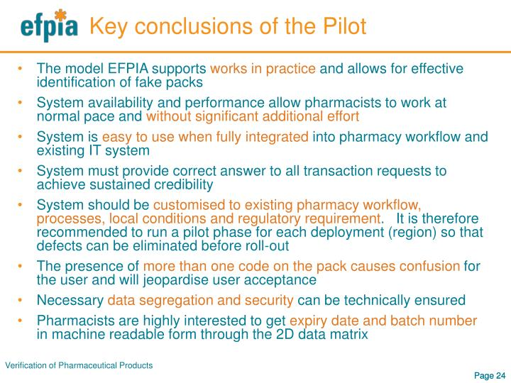 Key conclusions of the Pilot