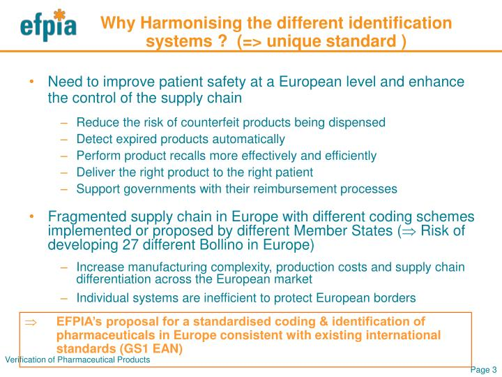 Why Harmonising the different identification systems ?  (=> unique standard )