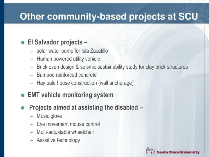 Other community-based projects at SCU