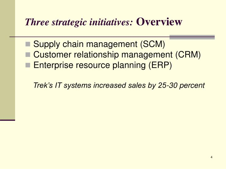 Three strategic initiatives: