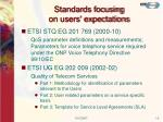 standards focusing on users expectations1
