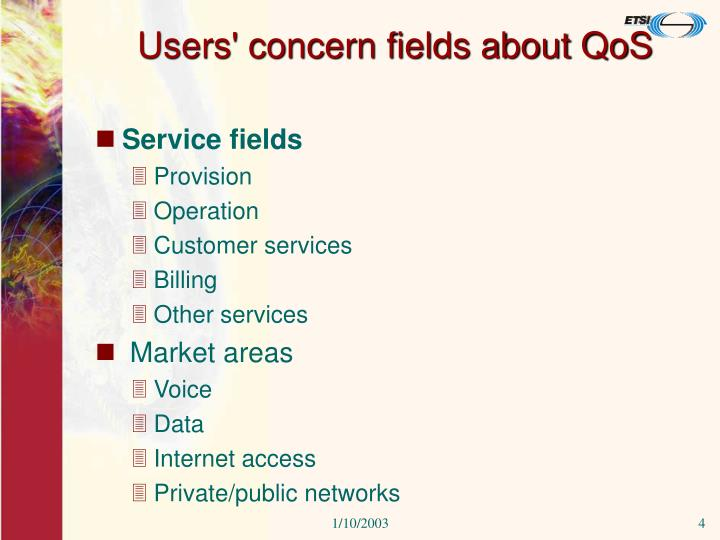 Users' concern fields about QoS