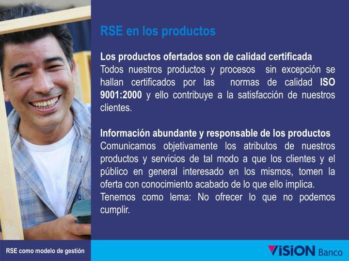 RSE en los productos