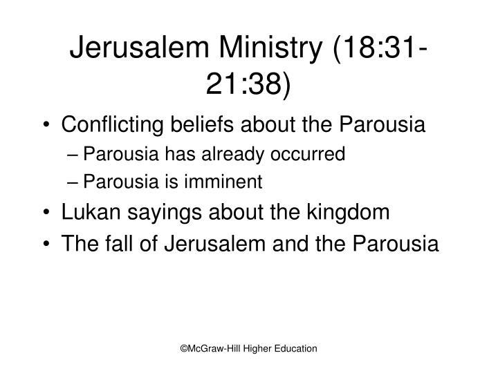 Jerusalem Ministry (18:31-21:38)