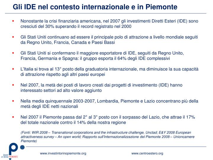 Gli IDE nel contesto internazionale e in Piemonte