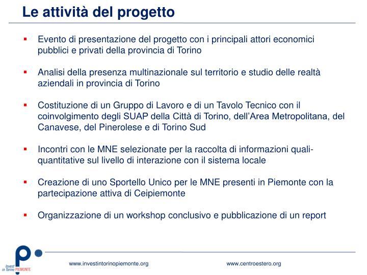 Le attività del progetto