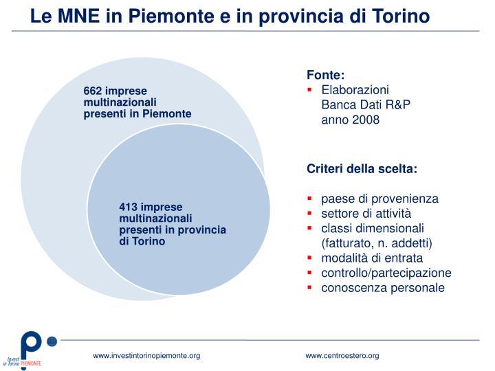 Le MNE in Piemonte e in provincia di Torino