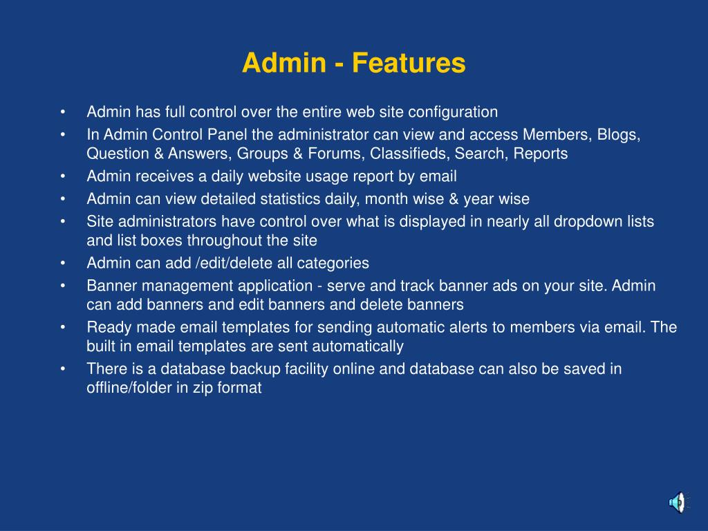 Admin - Features