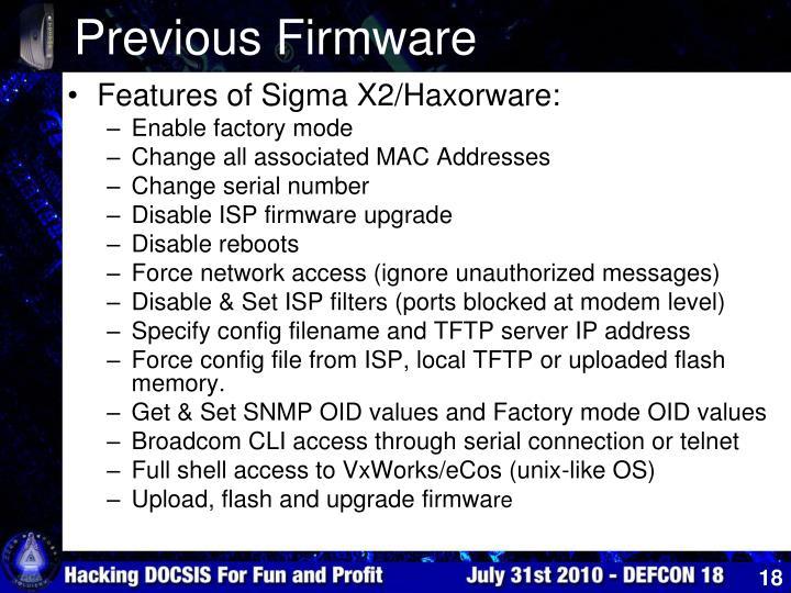 Previous Firmware