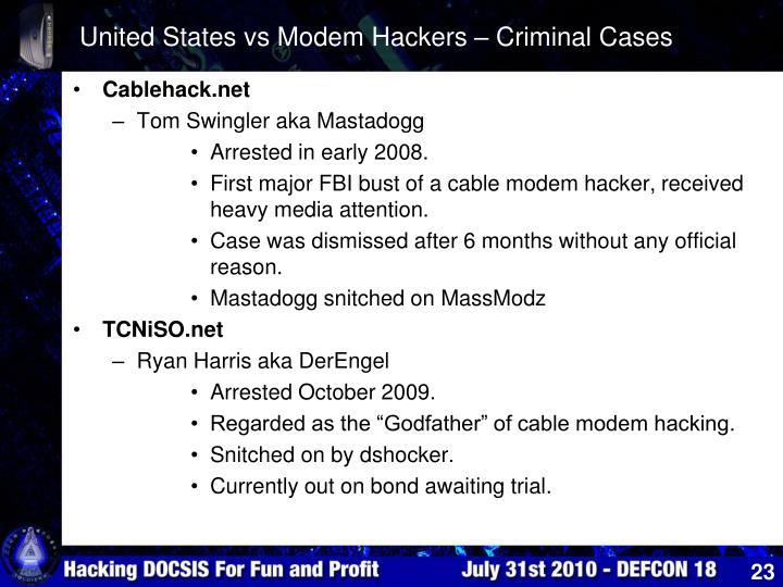 United States vs Modem Hackers – Criminal Cases