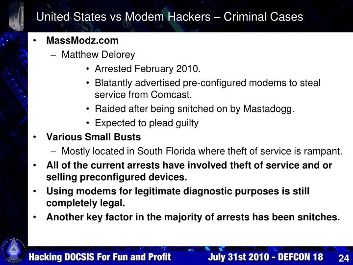 United States vs Modem Hackers – Criminal Cases