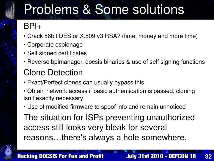 Problems & Some solutions