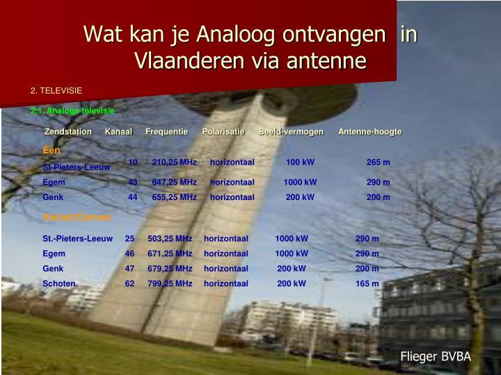 Wat kan je Analoog ontvangen  in Vlaanderen via antenne