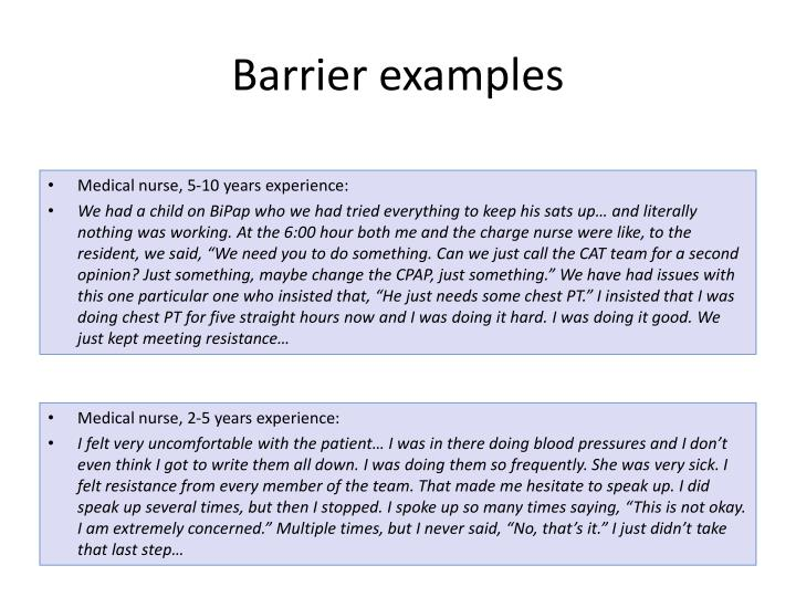 Barrier examples