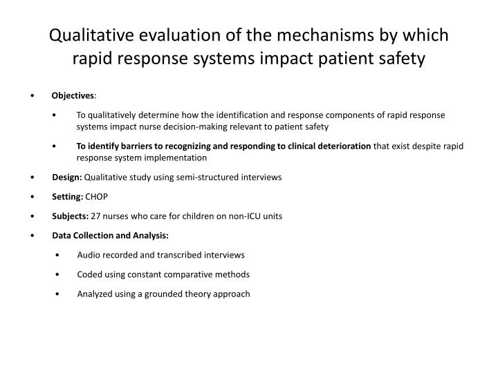 Qualitative evaluation of the mechanisms by which
