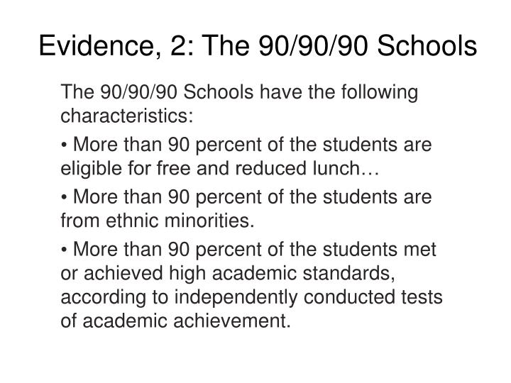Evidence, 2: The 90/90/90 Schools