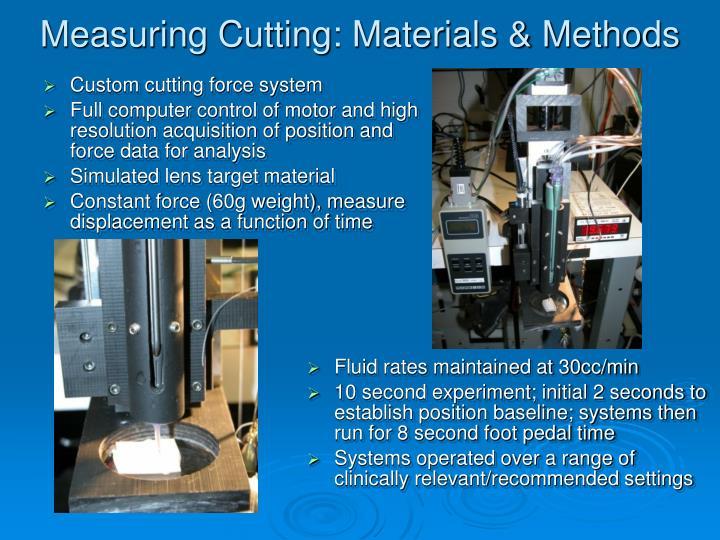 Measuring Cutting: Materials & Methods