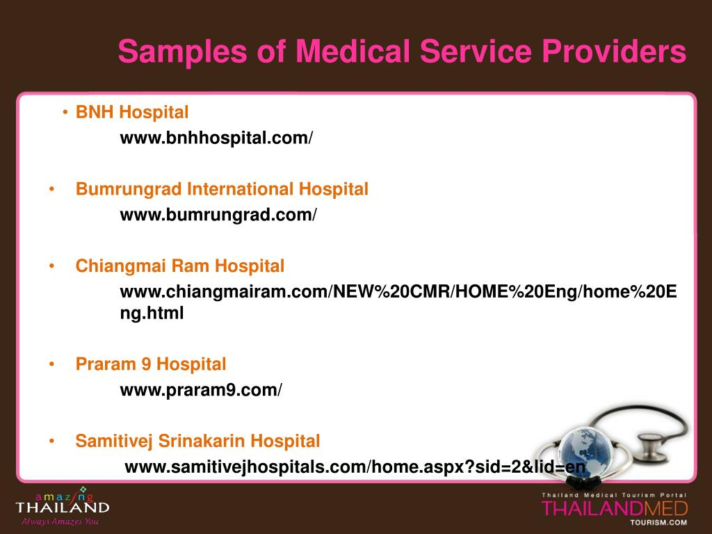 Samples of Medical Service Providers