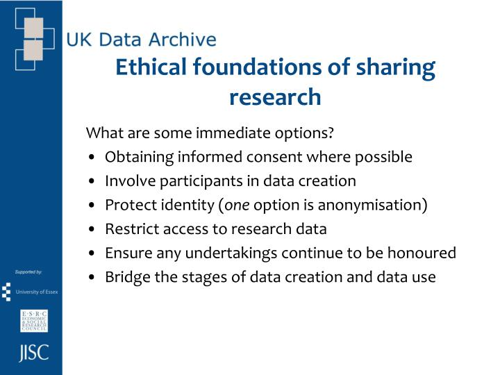 Ethical foundations of sharing research