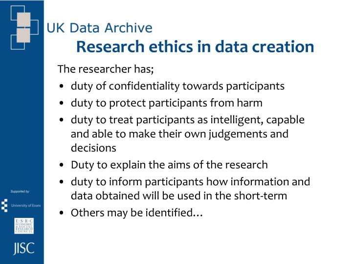 Research ethics in data creation