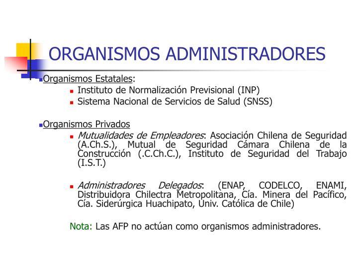 ORGANISMOS ADMINISTRADORES