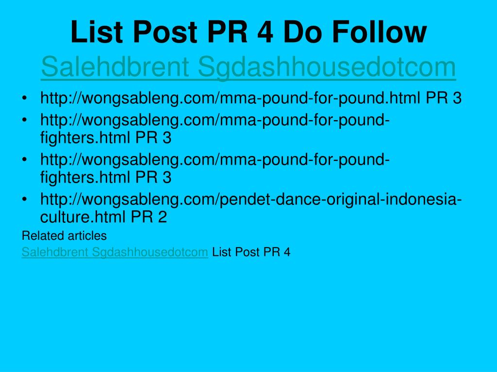 List Post PR 4 Do Follow