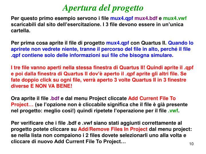 Apertura del progetto