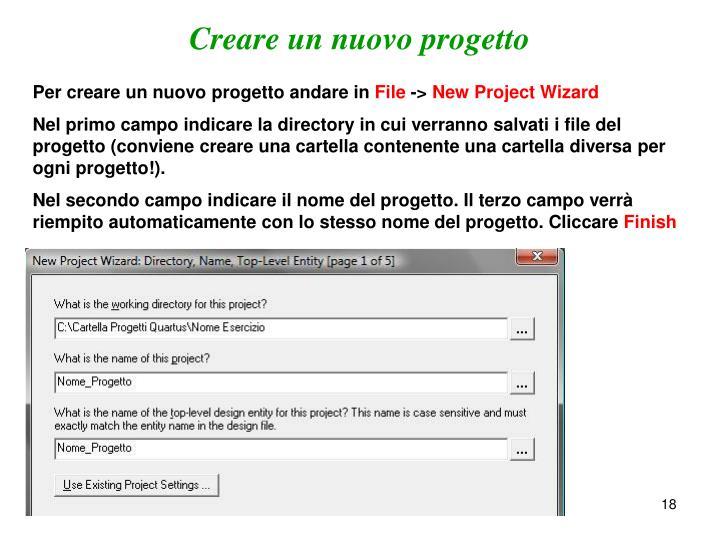 Creare un nuovo progetto