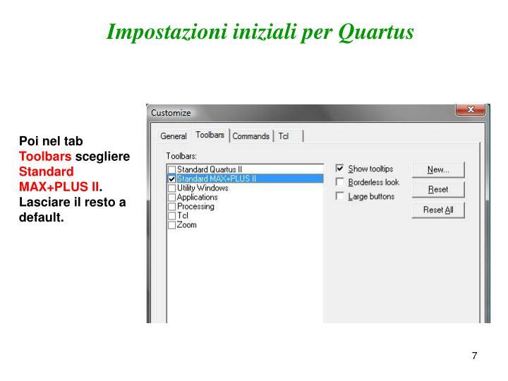 Impostazioni iniziali per Quartus