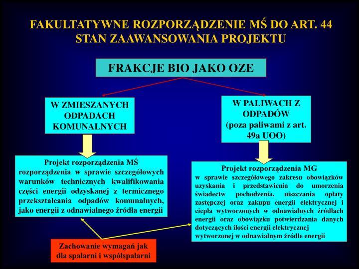 FAKULTATYWNE ROZPORZĄDZENIE MŚ DO ART. 44
