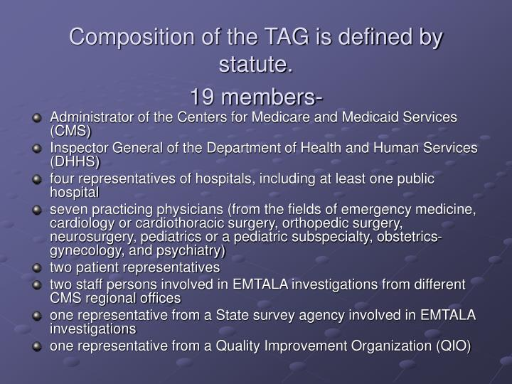 Composition of the TAG is defined by statute.