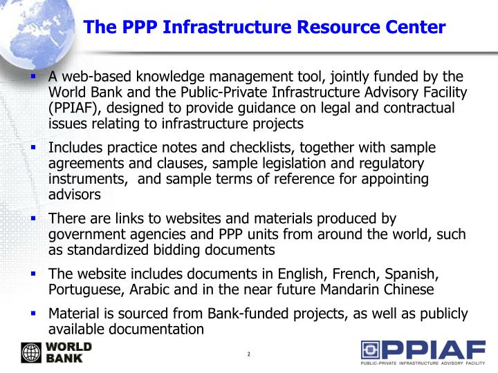 The PPP Infrastructure Resource Center