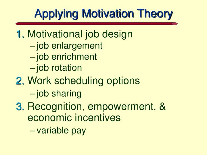 Applying Motivation Theory