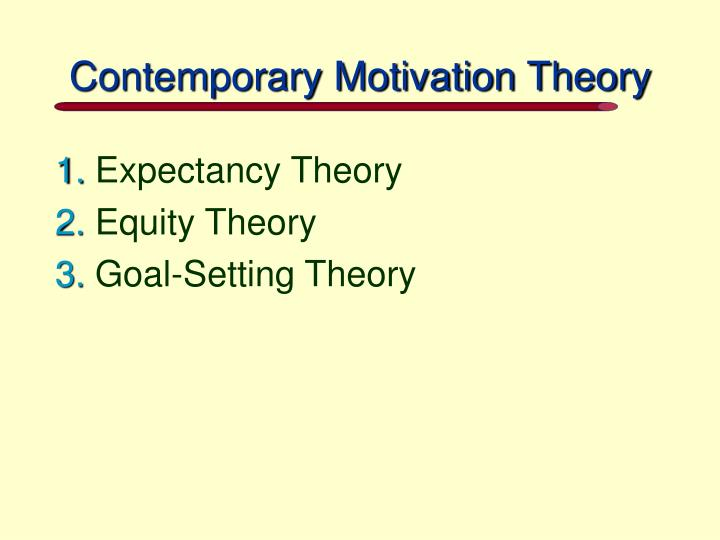 Contemporary Motivation Theory