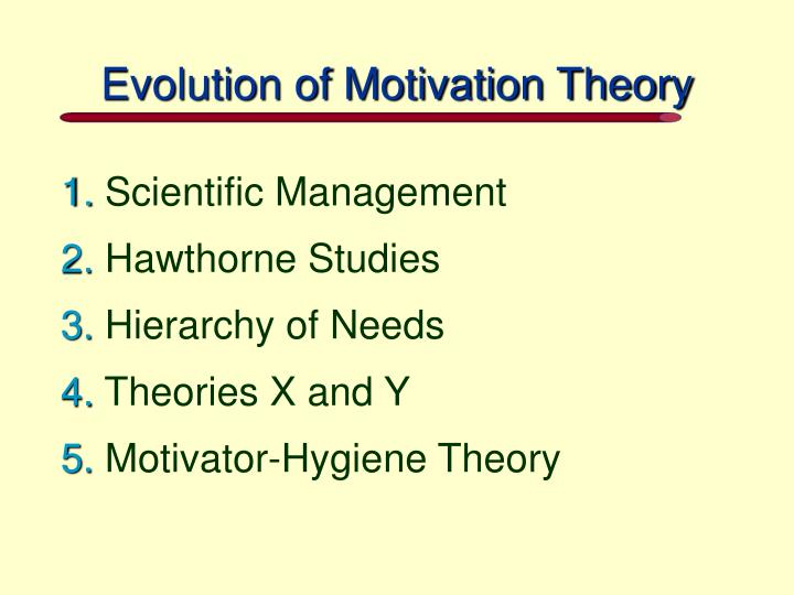 Evolution of Motivation Theory