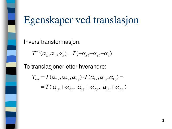 Egenskaper ved translasjon