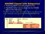 having clause with subqueries