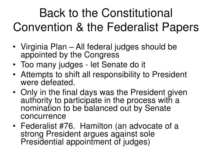 Back to the Constitutional Convention & the Federalist Papers