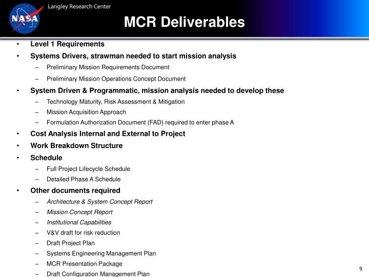 MCR Deliverables