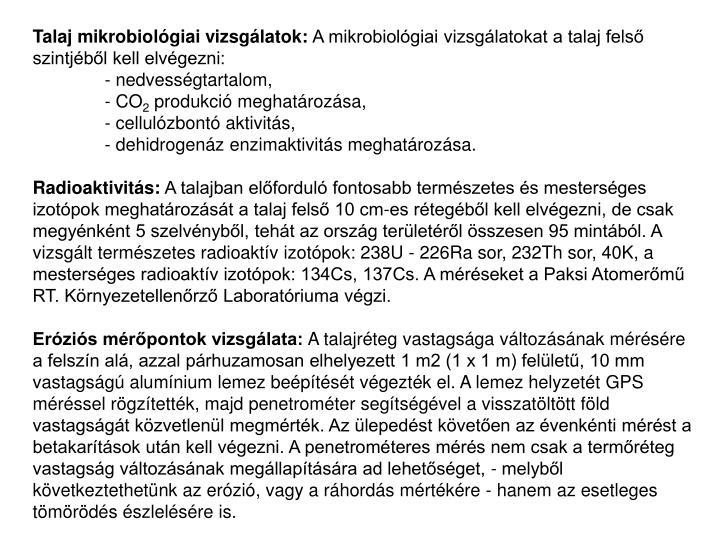 Talaj mikrobiológiai vizsgálatok: