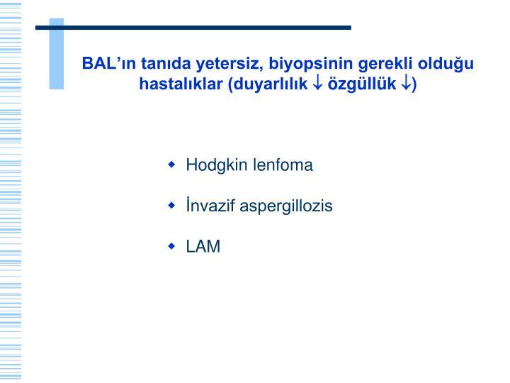 BAL'ın tanıda yetersiz, biyopsinin gerekli olduğu hastalıklar (duyarlılık