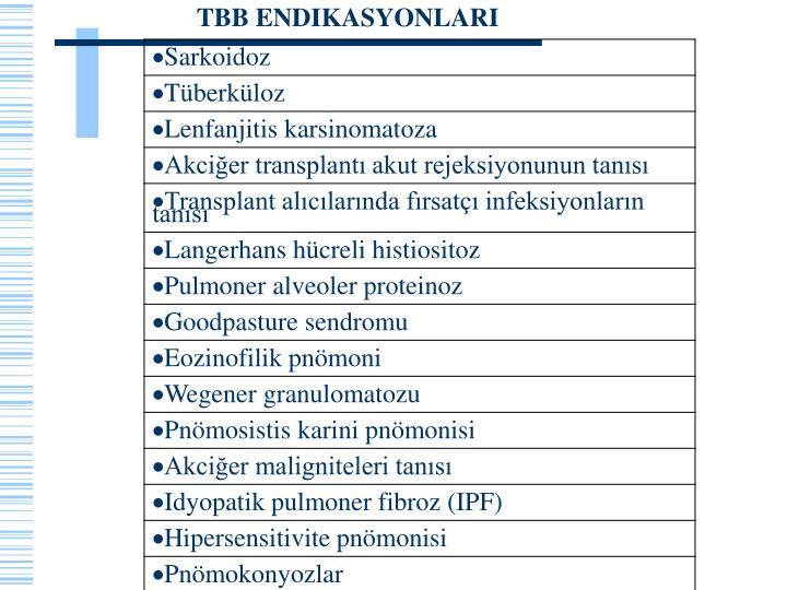 TBB ENDIKASYONLARI