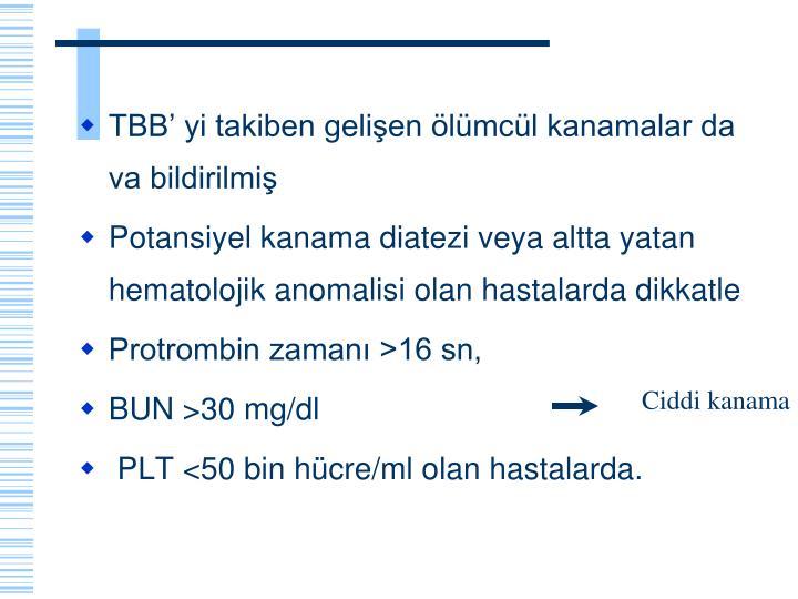TBB' yi takiben gelişen ölümcül kanamalar da va bildirilmiş