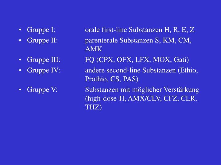Gruppe I:orale first-line Substanzen H, R, E, Z