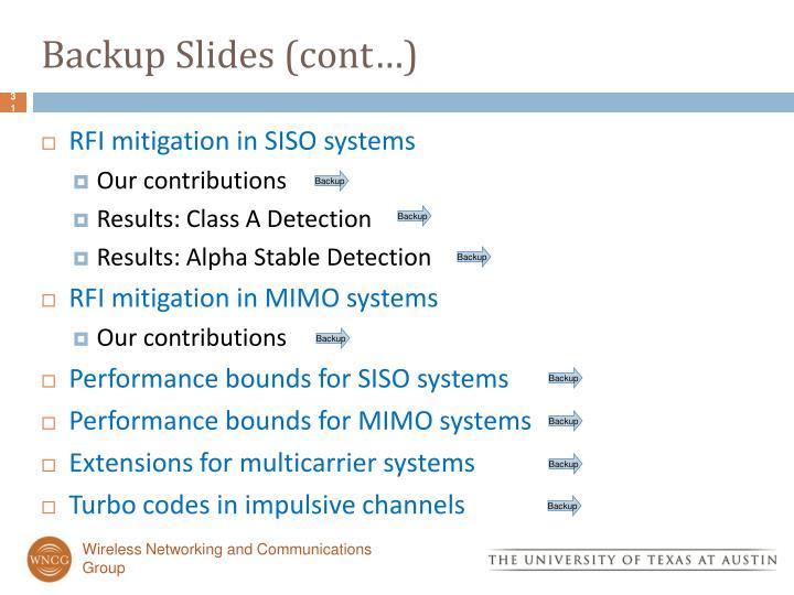 Backup Slides (cont…)