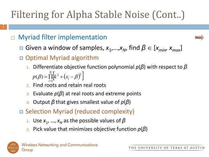 Filtering for Alpha Stable Noise (Cont..)