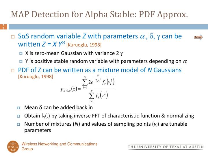 MAP Detection for Alpha Stable: PDF Approx.