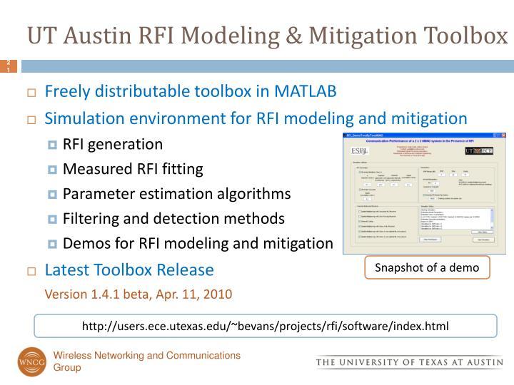 UT Austin RFI Modeling & Mitigation Toolbox
