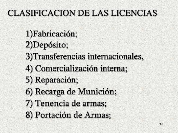 CLASIFICACION DE LAS LICENCIAS
