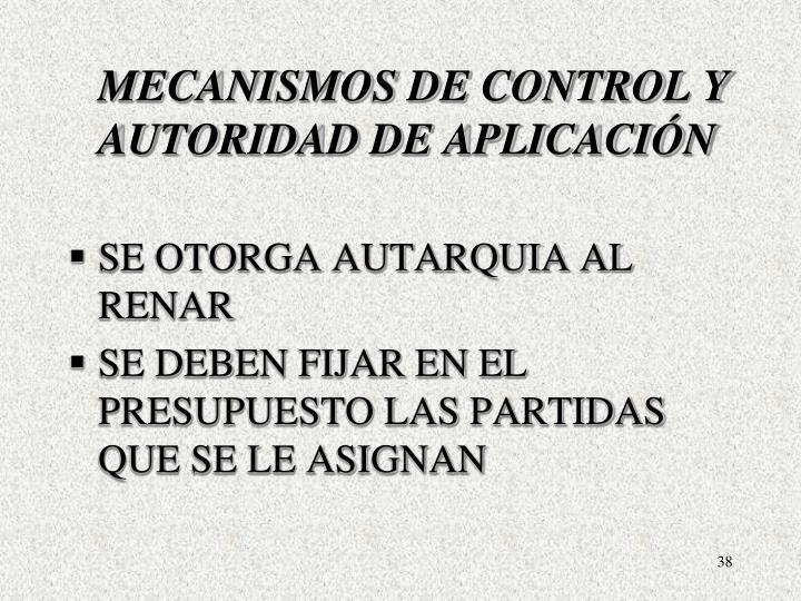 MECANISMOS DE CONTROL Y AUTORIDAD DE APLICACIÓN